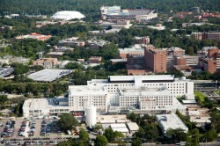 Aerial photo of UF academic health center campus and VA hospital